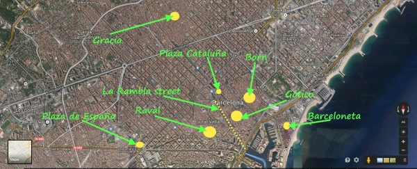Barcelona where to stay map