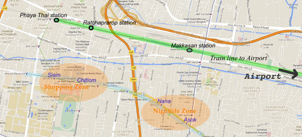 map hotel near train to airport bangkok