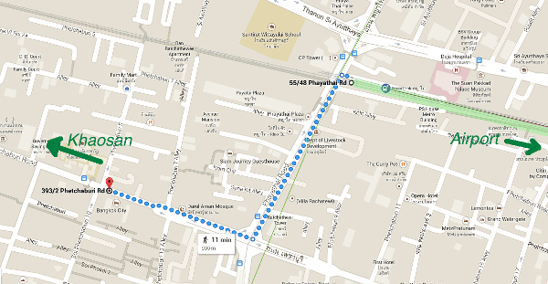 walk from phaya thai to bus to khaosan road