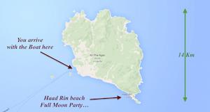 ko phangan map island thailand