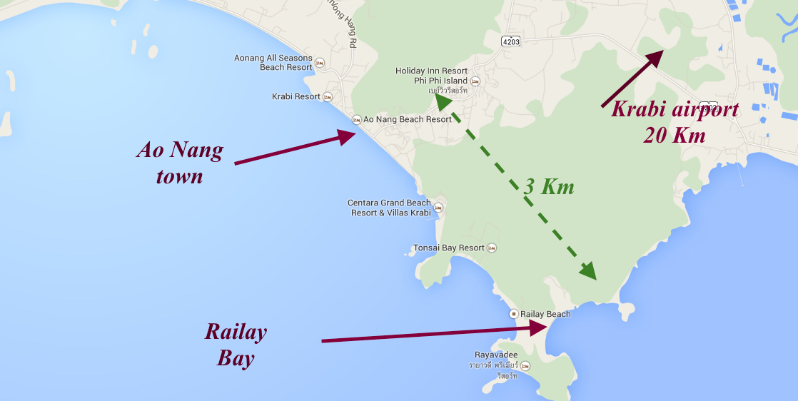 Railay Bay Map Thailand