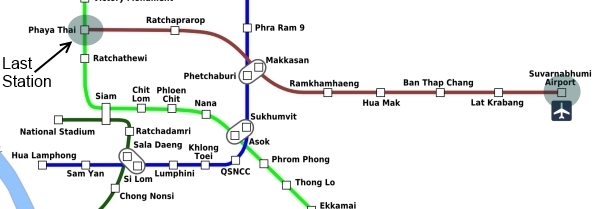 map airport train bangkok