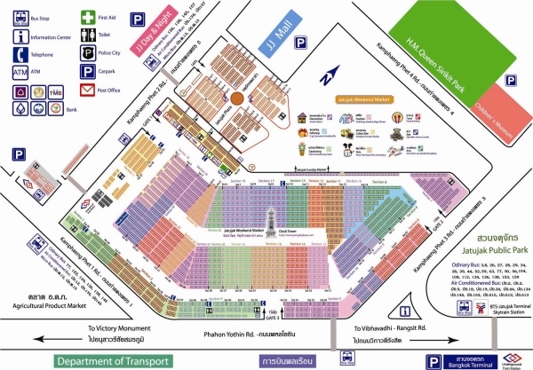 map of chatuchak market bangkok