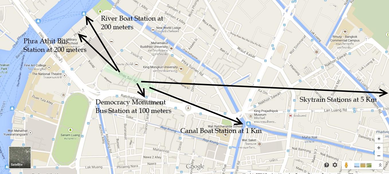 Cmo llegar de la calle khaosan de bangkok el transporte distances from khaosan road bangkok gumiabroncs Images