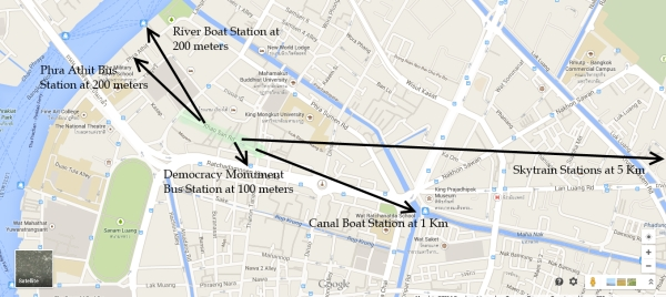 distances from khaosan road  bangkok