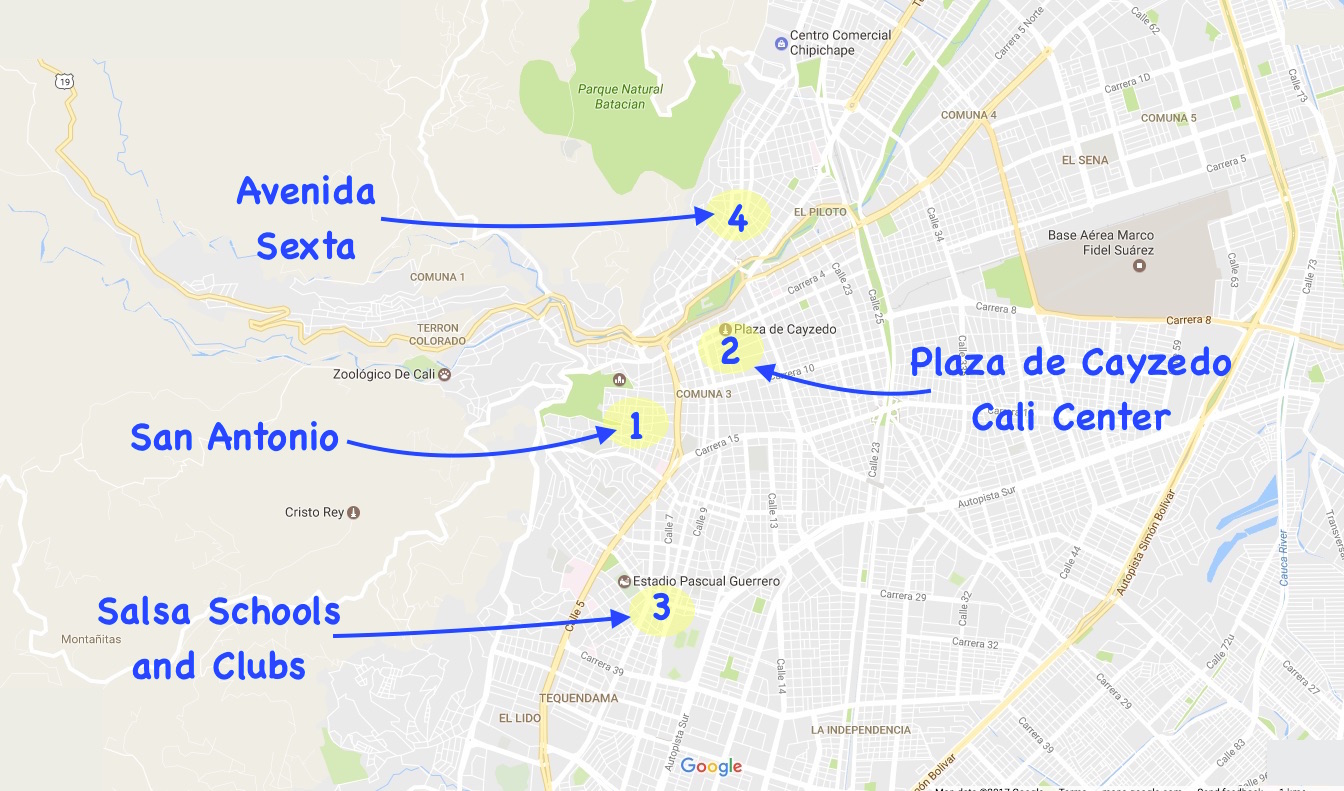 Where to stay in cali colombia potential zones for the hotel 1 san antonio publicscrutiny Image collections