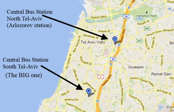 TelAviv Transport Bus and Train stations in TelAviv – Tourist Map Of Tel Aviv