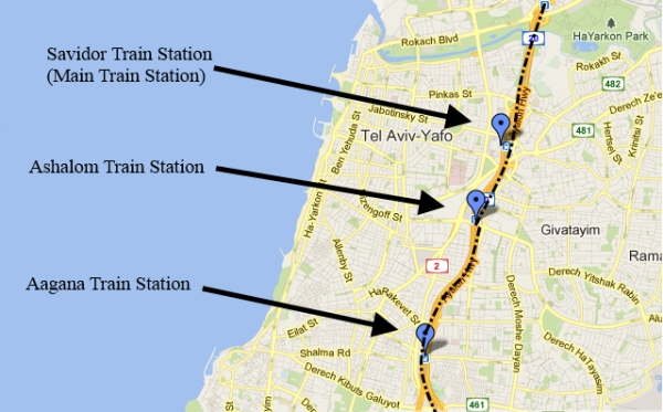TelAviv Transport Bus and Train stations in TelAviv